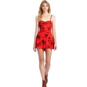 Free People Candy Pin-up black & red floral romper